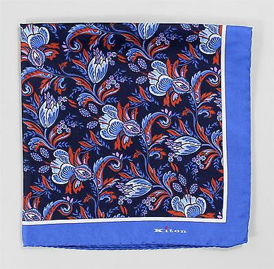 Kiton Pocket Square Blue Purple Red White Floral Paisley 100% Silk Hand Stitched