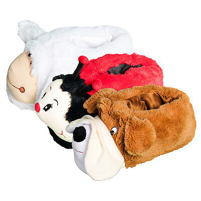 Ladies Womens Novelty Slippers Pull On Animal Sheep Dog Ladybird Soft Fluffy NEW