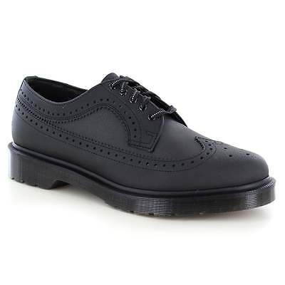 Dr Martens 3989 Mens Leather and Reflective Textile Brogue Shoes Black