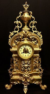 Beautiful Very Large French Antique Vincenti Solid Gilt Bronze Clock Heavy 26""