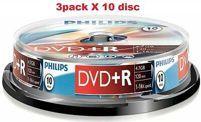 3 pack X 10 disc Philips DVD+R 120 Mins 4.7GB 16X Speed Recordable Blank Discs