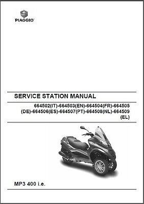 Piaggio MP3 400 i.e Scooter Service & Parts Manual on a CD