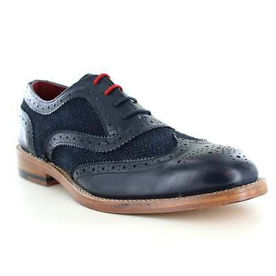 Justin Reece Truman Mens Leather and Tweed 4-Eyelet Brogue Shoes Navy Blue