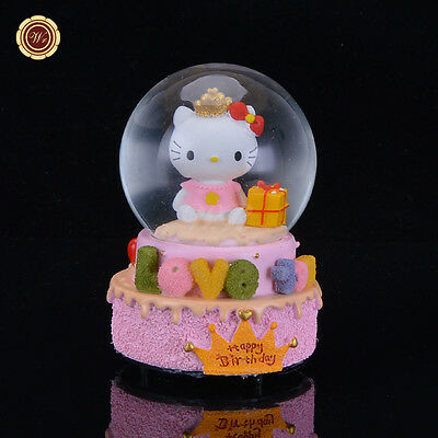 WR waterford crystal music box Kitty Snow Globe Nice Snowdome Gift For Birthday
