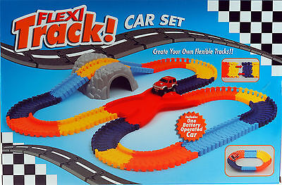 Flexi Track Toy With Battery Operated Car - 150 Piece Track With Tunnel