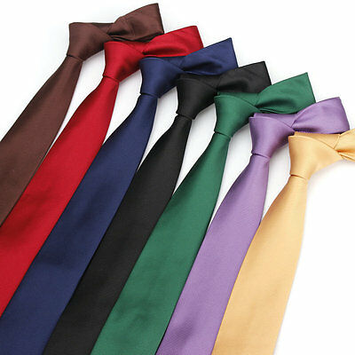 Factory Men's Skinny Neck Ties Slim Suits Necktie Polyester Silk Solid Tie Gift