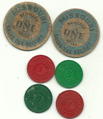A Vintage Lot Of 6 Missouri Sales Tax Token-Dec304