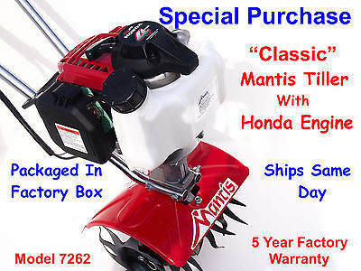 Mantis Tiller 7262 with Honda Engine - SAME DAY SHIPPING - New In Factory Box