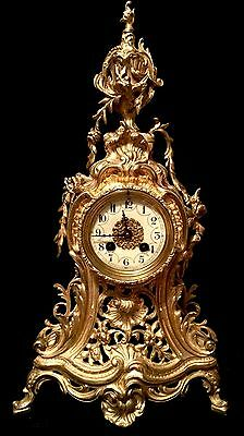 Beautiful Ad Mougin French Antique Gilt Bronze Clock C.19Th