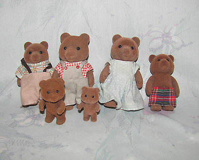 Calico Critters Brown Bear Family of 6 - 2 Adults, 4 Kids - Baby