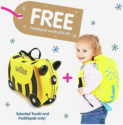 Trunki Bernard the Bee Ride-On Suitcase Luggage Yellow Brand New FREE DELIVERY