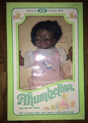 1982 Vintage Black Thumbelina By Ideal Ma-Ma Voice Sleeping Eyes 1394-6 Blk