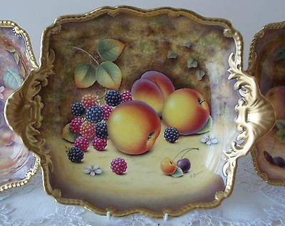 Royal Worcester Fruit Hand Painted Tudor Tray Plate Romany Interest