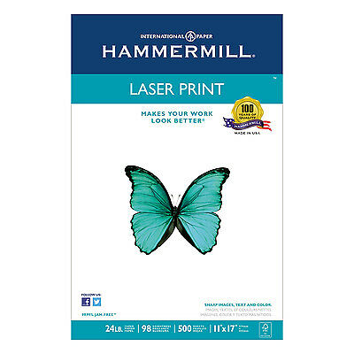 Hammermill Laser Print Office Paper 98 Brightness 24lb 11 x 17 White 500 Sheets