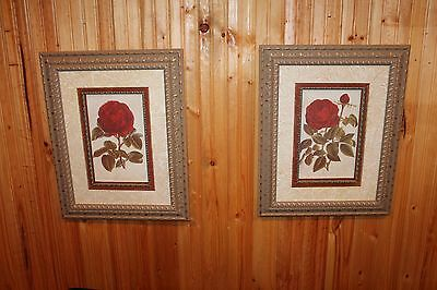 "Set of 20"" x 16"" Gold Framed Red Rose Pictures by French Artist Lefebvre & Guiet"