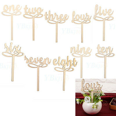 10pcs/Set 1-10 Wooden Table Numbers on Sticks For Wedding Xams Party Decorations