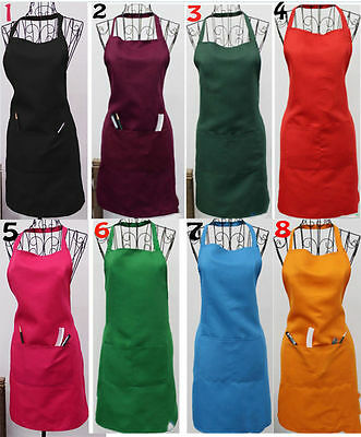 New Women Solid Cooking Kitchen Restaurant Bib Apron Dress with Pocket Gift HOT