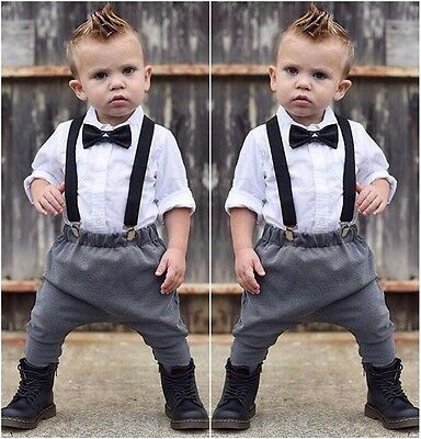 Infant Baby Boys Dress Shirt and Bow Tie & Suspenders Pants Formal Wear Clothes