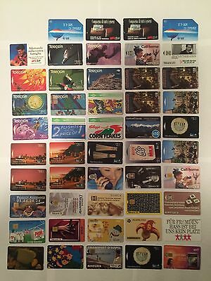 Phone card collection ~ 49 USED International phone cards Circa 1990's