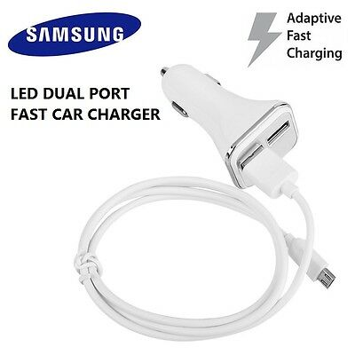 ADAPTIVE FAST CHARGING LED CAR CHARGER DUAL PORT for Samsung Galaxy S7 S6 NOTE 4
