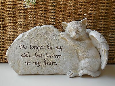 Pet Cat With Wings Memorial Stone Look Resin 'forever In My Heart' *new