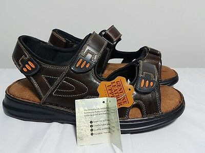 Full Leather Upper Mens Woodlands Three Strap Summer Sandals Brown - Hayes