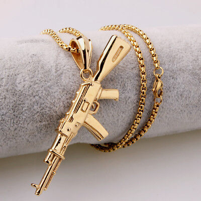 AK47 Assault Gun Rifle Pendant Chain Stainless Steel Gold Tone Men's Necklace
