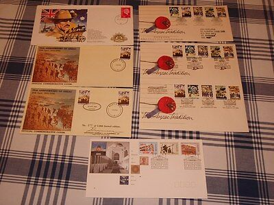 FDC Stamped and Cancelled Australia Anzac Envelopes