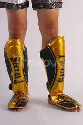 AU New Twins Special MMA Muay Thai Fight Boxing Shin Guards SGL10-TW4 Black Gold