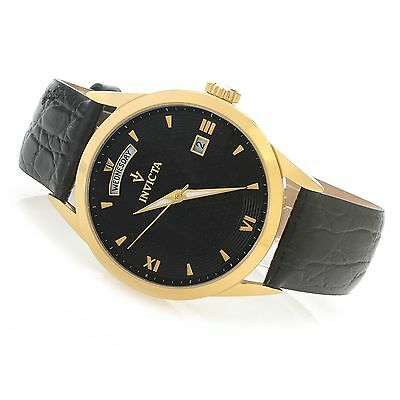 New Invicta Vintage Men's Watch, 40mm, 18K Gold Plated, Black Leather Band