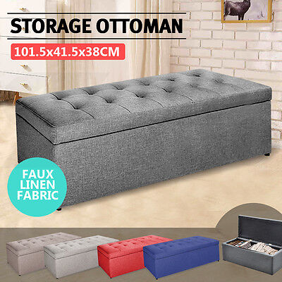 Blanket Box Storage Ottoman PU Leather Fabric Chest Toy Foot Stool Bed Tan