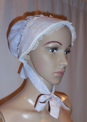 Vintage Baby Small Child Bonnet Purple Floral White Lace Elastic Back Ties Small