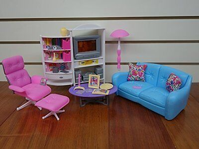 Barbie Size Dollhouse Furniture - Family Room TV Couch Ottoman