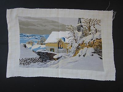 Beautiful Handmade Gobelin Tapestry Needlepoint Winter landscape with house