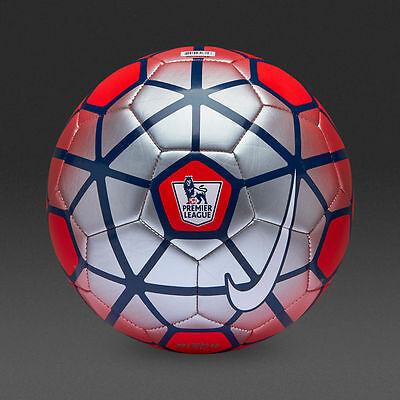 Nike EPL Premier League 2015 16 Football/ Soccer Ball | RED/ SILVER - SIZE 5