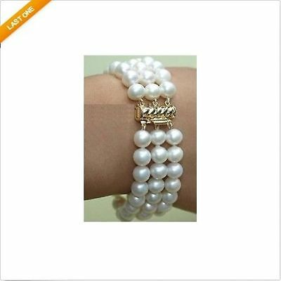 """3 rows 7.5-8"""" 8-9MM AAA+ SOUTH SEA GENUINE WHITE PEARL BRACELET 14k Yellow Gold"""