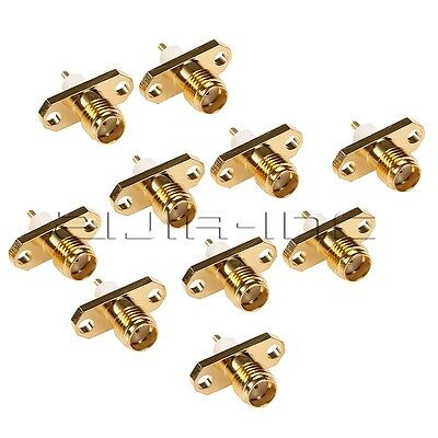 10pcs RF Connector SMA 2-Hole Panel Mount Jack Female Extended Dielectric Solder