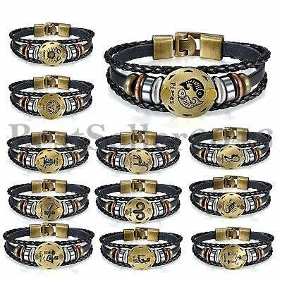 Retro 12 Constellation Zodiac Bracelet Handmade Leather Cuff Bangle Wristband