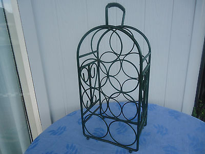 vintage wrought  iron green wine rack stand
