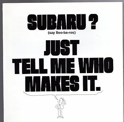 Subaru & Fuji Heavy Industries 1974 USA Market Corporate Foldout Sales Brochure
