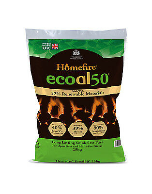 ECOAL50 SMOKELESS COAL HOUSE FUEL - 10x25KG BAGS - DIRECT FROM MANUFACTURER