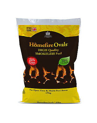 HOMEFIRE OVALS SMOKELESS COAL - 10x25KG PRE-PACKED BAGS DIRECT FROM MANUFACTURER