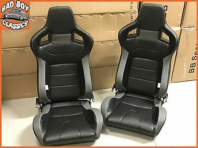 Pair BB6 Reclining Tilting Bucket Sports Car Seats Black Grey Universal Design