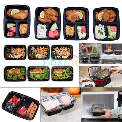 3Colors 10pcs 1000ml Meal Prep Containers Microwavable Food Storage Box With Lid