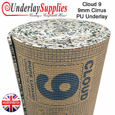 Cloud 9 Cirrus 9mm PU Carpet Underlay Brand Leader Quality UK Manufactured