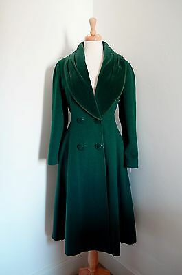 VINTAGE MANSFIELD RIDING COAT VICTORIAN 40s WAR BRIDE CASHMERE GREEN 10 12