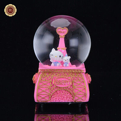 WR Gift waterford crystal music box Hello Kitty Snow Globe For Girl Eiffel Tower
