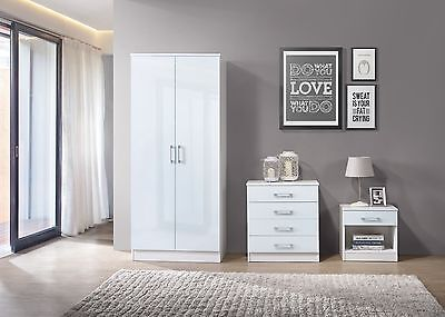 Nuevo Bedroom Furniture Set White High Gloss 3 Pc Wardrobe Chest Bedside