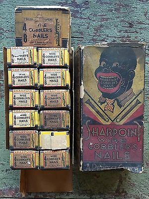 Rare Vintage Case Of Sharpoint Cobbler's Nails Black Americana Store Advertising