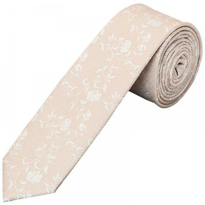 Handmade Peach Floral Skinny Men's Tie Wedding Tie Neck Tie